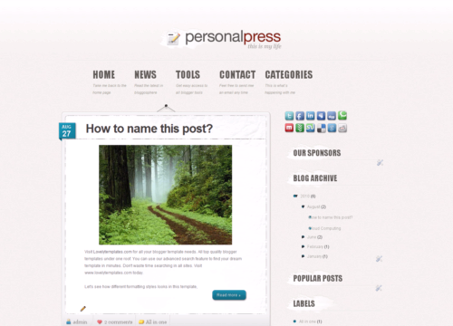 personal blog templates