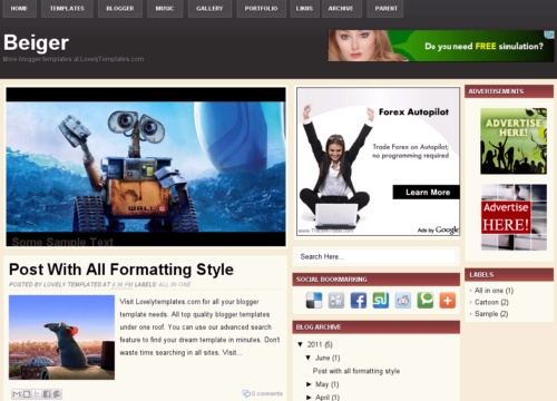 Beiger Free Blogger Template